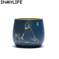 INMYLIFE Yixing Zisha Handmade Purple Clay Tea Cup Chinese Kung Fu Teacups Tea Lovers Gift Home Decoration Ornaments 3.8oz