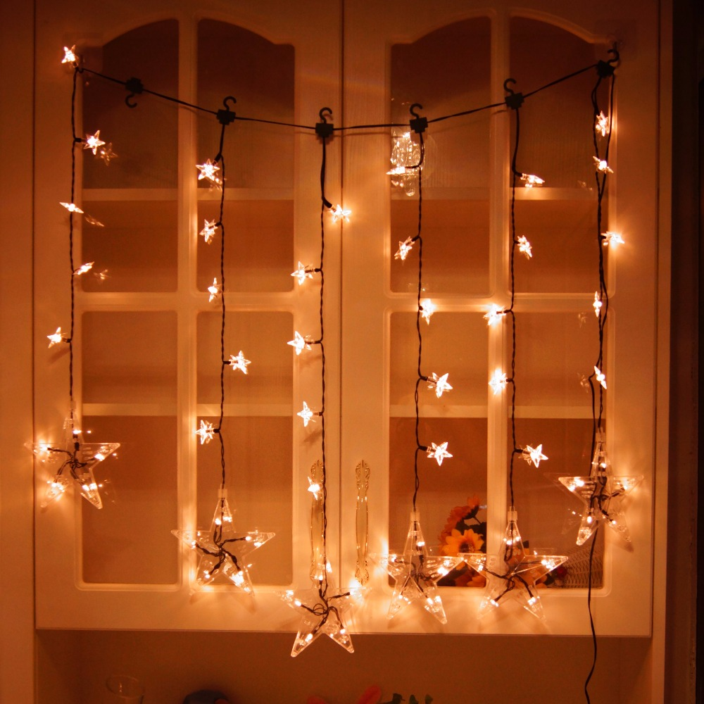 2017 CE RoHS safety Low voltage 1 0 7m 60led Transparent Star pendant Curtain light for