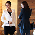 2016 Fashion Vintage Women White Jacket Sexy Notch Shoulder Pad Asymmetric Female Coat Lady Office Mermaid Cape Blazer feminino