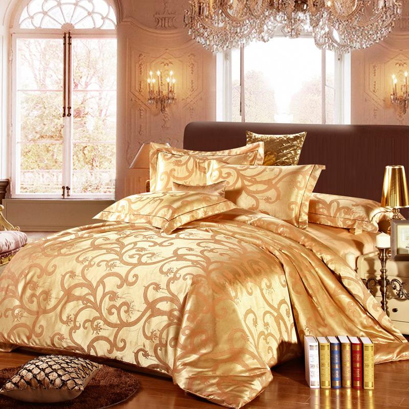 luxury high grade silk cotton jacquard quality duvet cover comforter bedding set 4pcs funda. Black Bedroom Furniture Sets. Home Design Ideas