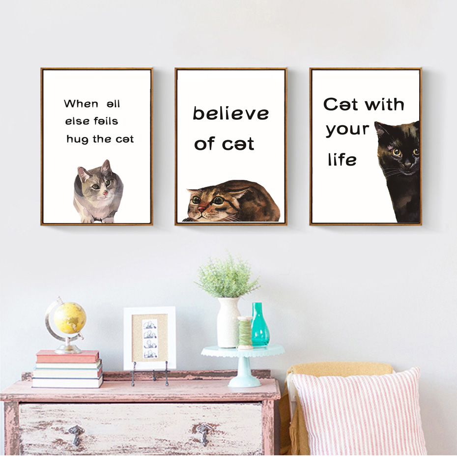 Modes gudrs kaķu audekla gleznojums Klasiskie citāti Dzīvnieki - Mājas dekors