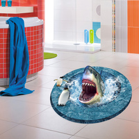 New 60 90cm Great White Open Mouth 3D Wall Stickers Bathroom Floor Stickers Living Room Home