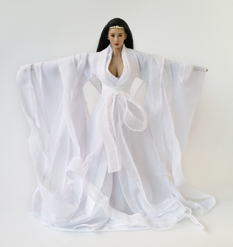 1/6 Scale Women's Ancient Long White Dress Models For 12'' Action Figure with Big Bust