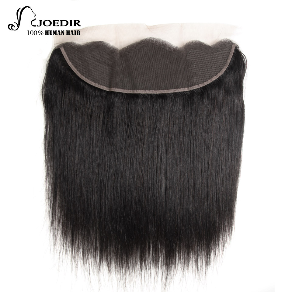 JOEDIR Hair Ear to Ear Lace Frontal Closure 13X4 Free Part With Baby Hair Pre Plucked Brazilian Straight Human Hair Remy Hair