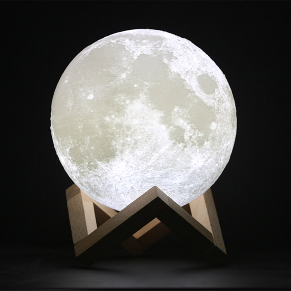 YIYANG 3D Print Moon Lamp 10cm Rechargeable 2 Colors PLA Touch Switch Bedroom Bookcase Night Light Home Decor Creative Gift magnetic floating levitation 3d print moon lamp led night light 2 color auto change moon light home decor creative birthday gift