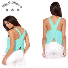 Wei JiXiong 2017 Summer Women Blouses Strapless Candy Color Shirts Sexy Backless Strap Chiffon Blouse Crop Tops Ladies' Vest