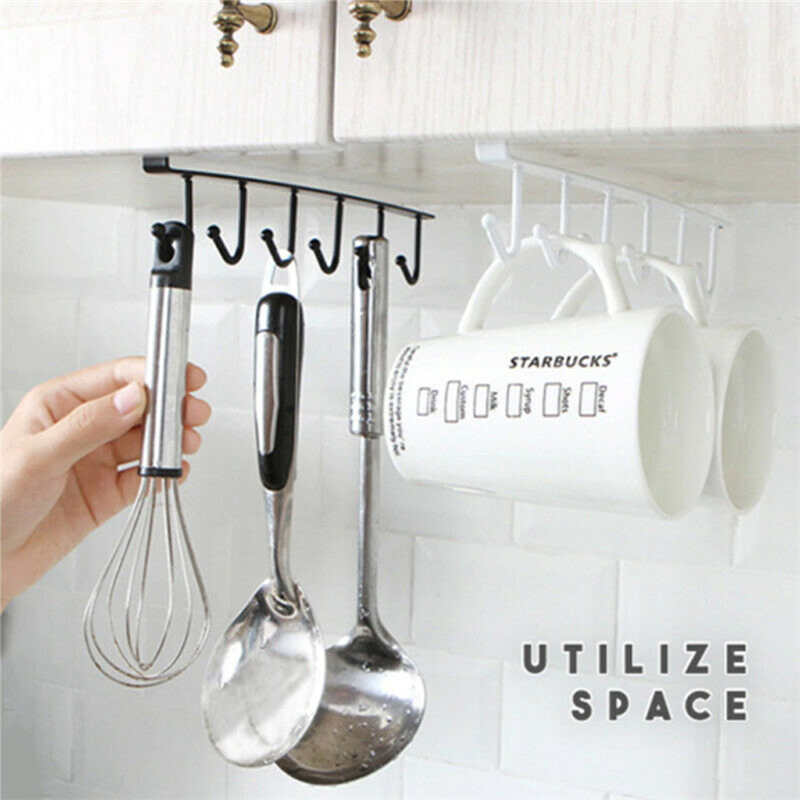 Image 2 - New listing Creative Storage Rack ShelfCupboard 6 Hooks Under Cabinet Removable Kitchen storage racks Safe for kids-in Racks & Holders from Home & Garden