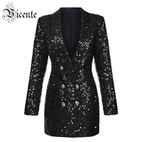 Vicente HOT Chic Black Mini Dress Sequins Button Design Long Sleeves Sexy Deep V neck 2018 New Celebrity Party Club Dress