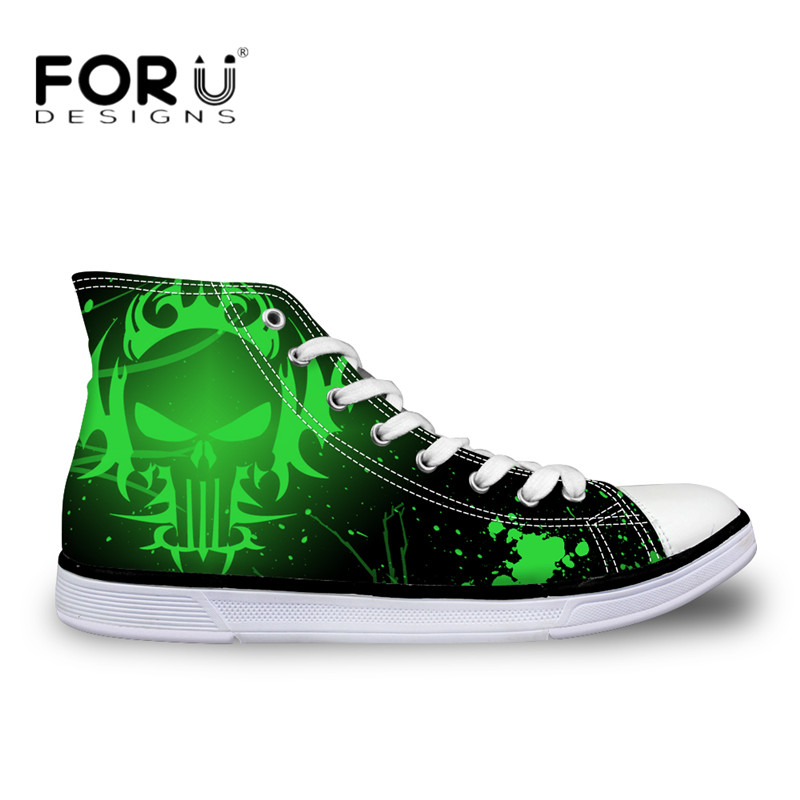FORUDESIGNS Casual Autumn Canvas Shoes Punk Skull 3D Print Fashion High Top Men Vulcanize Shoes Classic Lace Up Teen Boys Flats цена 2017