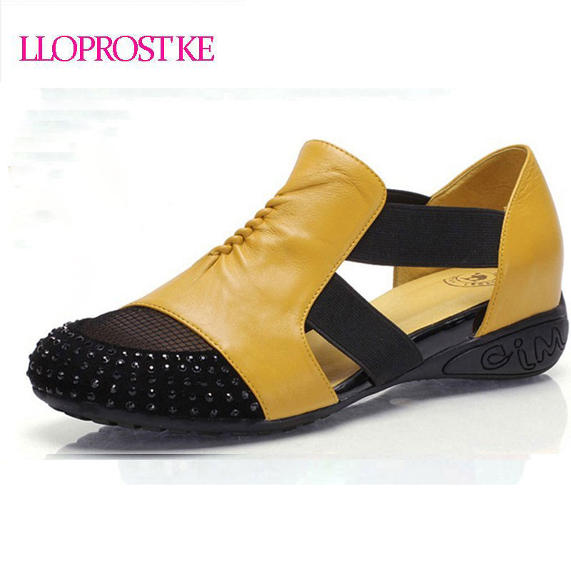 LLOPROSTKE female sandals flat heel rhinestone cut-outs elevator colorant spring and summer plus size shoes woman wound toe P025
