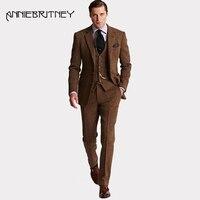 Ретро зимние коричневые твид Винтаж Для мужчин костюмы для свадьбы комплект из 3 предметов Для мужчин классические костюмы пиджаки куртка