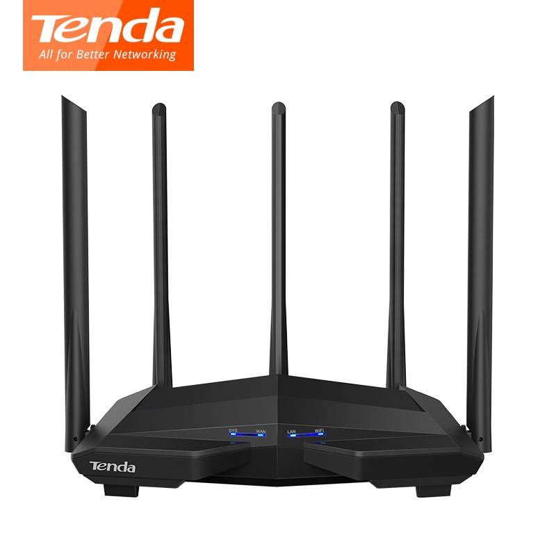 Tenda ac11 gigabit wifi roteador 1200 mbps wifi repetidor banda dupla 2.4g/5g 1 wan + 3 lan gigabit portas 5*6 dbi ganho antena 1 ghz cpu