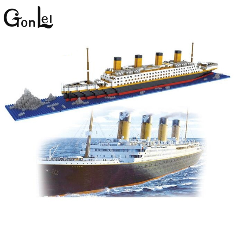 GonLeI Hot LOZ RMS Titanic Ship 3D Building Blocks Toy Titanic Boat 3D Model Educational Gift Toy Not Compatible With legoings pzx diamond blocks technic bricks building blocks toy vehicle rms titanic ship steam boat model toys for children micro creator