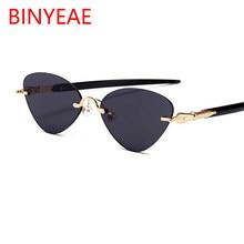 Montura pequeña gafas de sol Ojo de gato sin montura lentes rojas 2018  nuevas gafas de sol negras triangulares para mujer 35f7c7e1faab