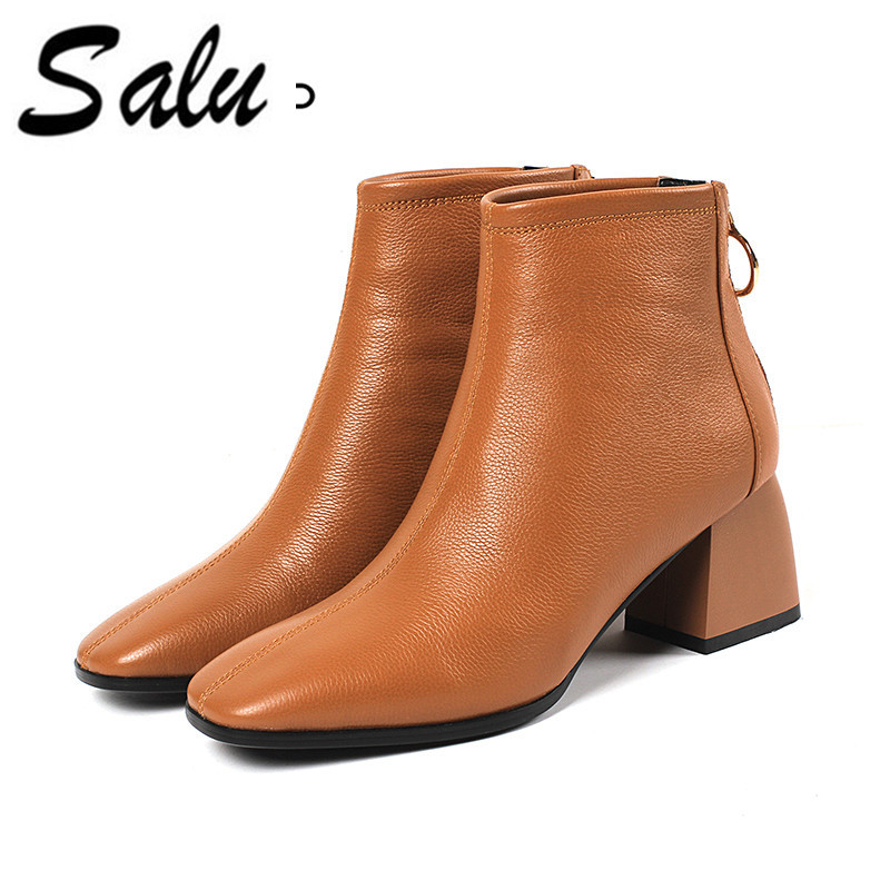 Salu Women's Boots Genuine Leather Ankle Boots Round toe Woman Casual Shoes r Autumn Winter Short Boots цена