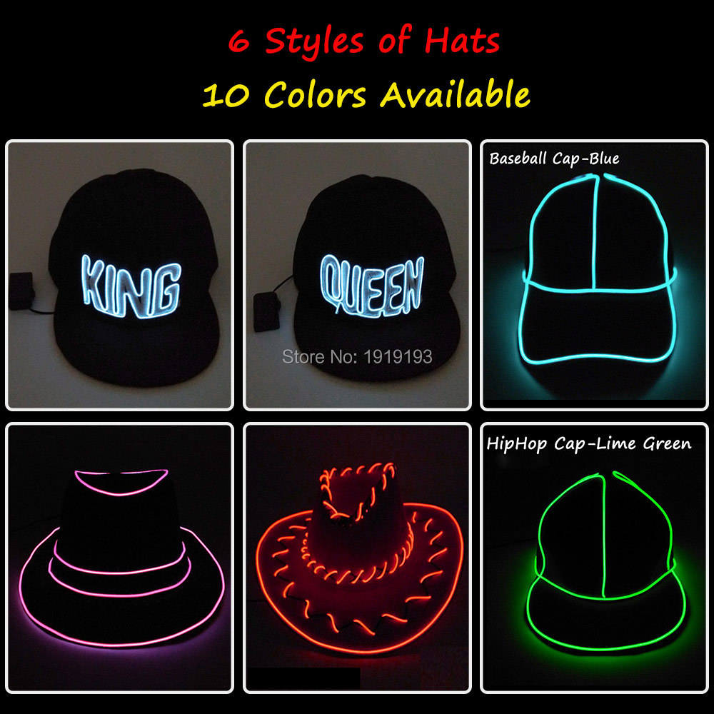 509620cc2ae Detail Feedback Questions about 6 Style LED Glow Light Up Party Hat Neon  glow light Cosplay EL Hats Performance Stage Running at night Props Glow  Party ...