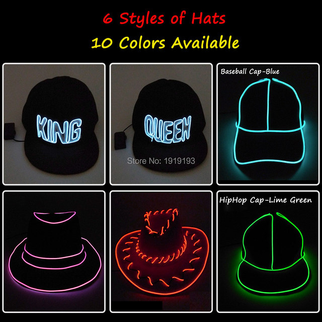 c6439f3099e22 6 Style LED Glow Light Up Party Hat Neon glow light Cosplay EL Hats  Performance Stage Running at night Props Glow Party Supplies