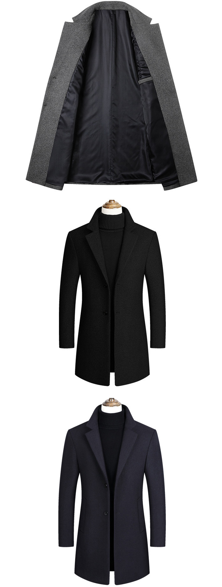 Winter Wool Jacket Men's High-quality Wool Coat casual Slim collar wool coat Men's long cotton collar trench coat 8