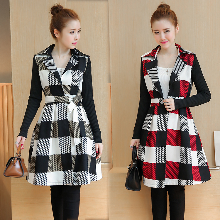 New Winter Korean Fashion Women Grid Trench Loose Dress Coat Long
