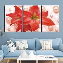 Posters and Prints Painting Flowers Pictures Wall Art for Living Room Home Decor Canvas Art 3 Piece Set Framed(China)