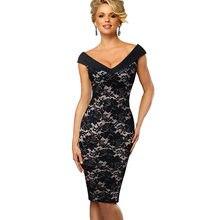 c67fc6eafb Vfemage Vintage Color de contraste elegante flor estampado Sexy fuera del  hombro vestidos de fiesta vestido