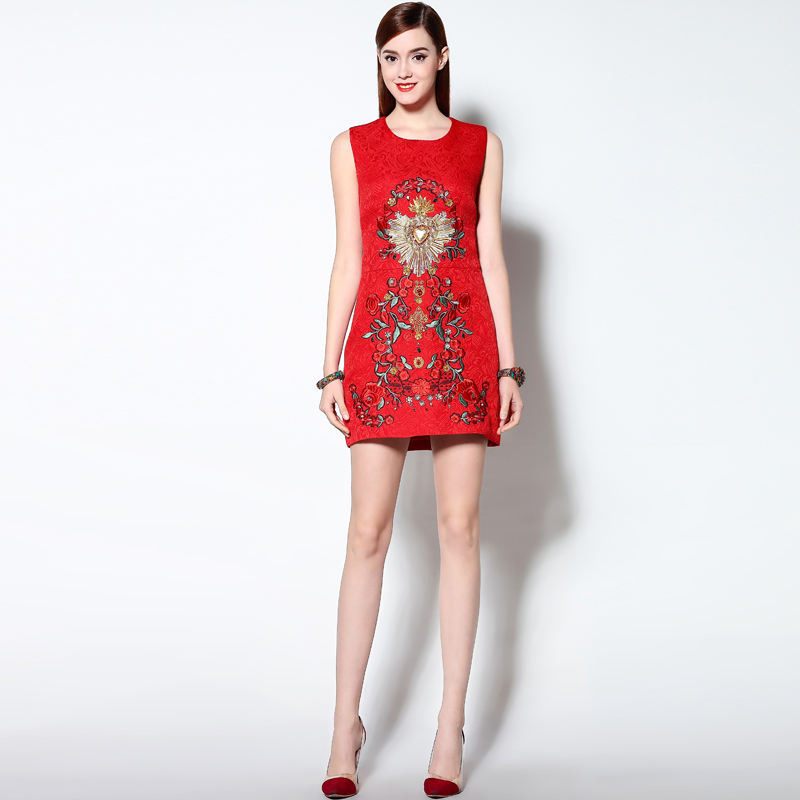 2018 Newest Luxurious Spring High Quality Three dimensional Beading Embroidered Sleeveless Red Cotton Slim Tank Dress Women