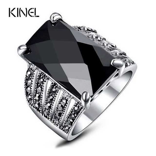 New 2016 OL Fashion Jewelry Vintage Look Black Ring Mosaic Big Square Glass Dril