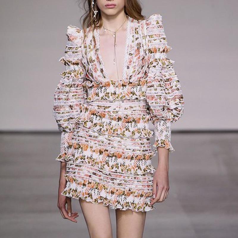 ZIM Designer piste femmes robe d'été imprimé Floral manches bouffantes Sexy profonde col en V robes en dentelle évider mode femme vacances