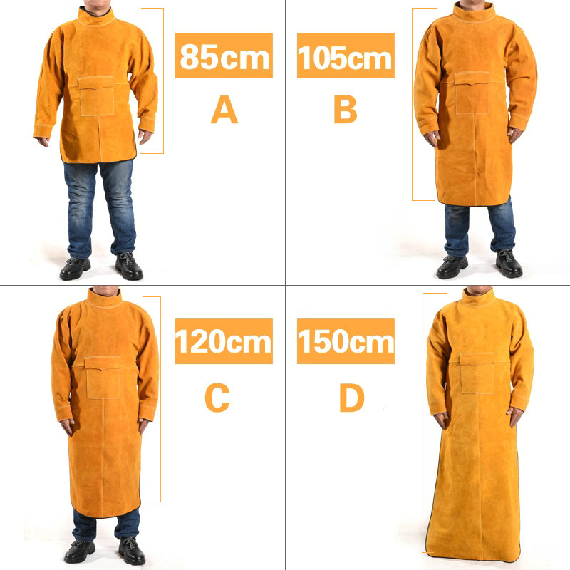 XL/XXL durable leather welded long coat apron protective clothing garment welder argon arc welding workplace safety clothing leather welding long coat apron protective clothing apparel suit welder workplace safety clothing