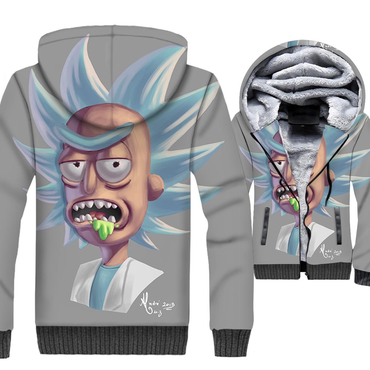 Rick Jacket Rick and Morty 3D Print Hoodie Men Funny Hip Hop Hooded Sweatshirt Winter Thick Fleece Warm Zipper Cartoon Coat Mens
