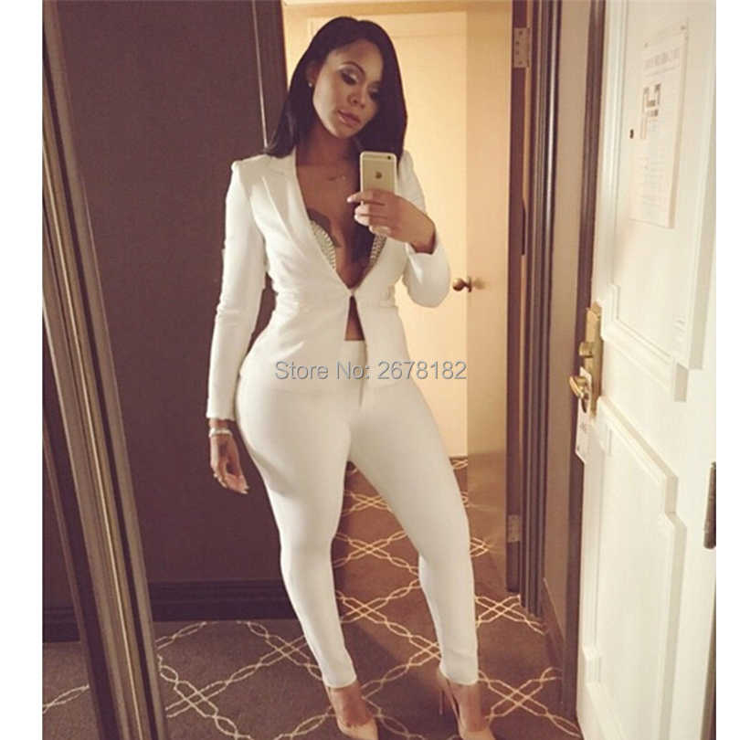 a8cee950de46 ... Two piece Pant Suits 2018 spring summer long sleeve Casual Sexy Jacket+long  trouser 2 ...
