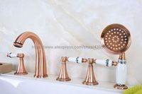 Bathtub Faucet Red Copper Widespread Roamn Tub Faucet 5 Hole Bath Faucet with Handshower Btf207