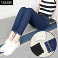 Mid Waist Skinny Ankle Jeans For Women 2016 Femme Slim Fit Stretch Holes Knee Jagged Bottoms Denim Ankle Pants Woman Black Blue