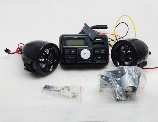 Anti-Roubo do crânio Da Motocicleta Sistema De Áudio MP3 Speaker Amplificador FM TF SD MMC MP3 Guiador Estéreo Sistema de Som de Alarme moto