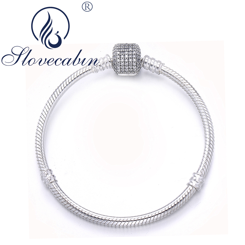 Slovecabin Romantic 925 Sterling Silver Signature Clasp Charms Bracelets For Women Pulseira Feminina 925 Sterling Silver Jewelry-in Chain & Link Bracelets from Jewelry & Accessories    1
