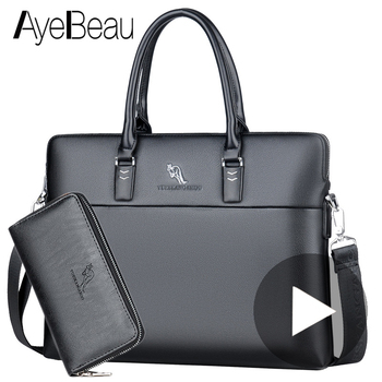 Mens Leather Laptop Bags | Black Work Hand Business Office Male Messenger Bag Men Briefcase For Document Laptop Computer Handbag A4 Partfel Portfolio 2019