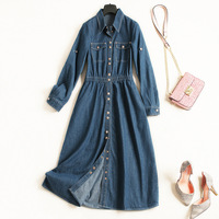 100% Cotton solid single breasted elastic waist a line jeans dress 2018 new full sleeve turn down collar women autumn long dress