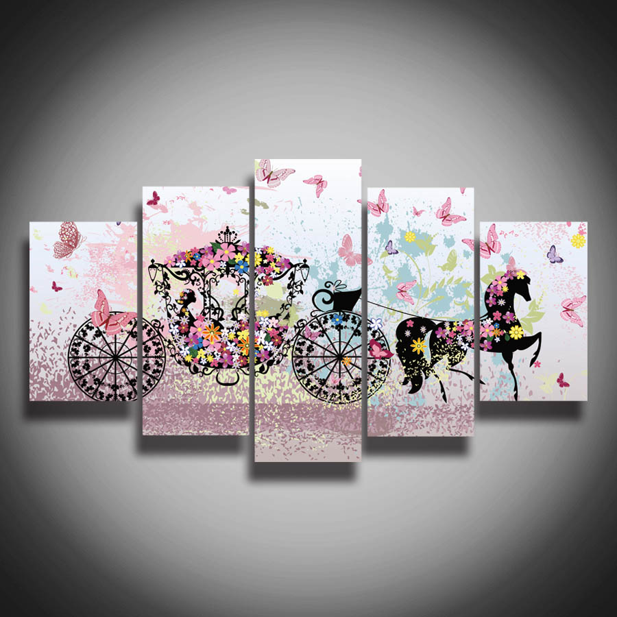 Art Printed picture flower butterfly canvas painting wall home decor ...
