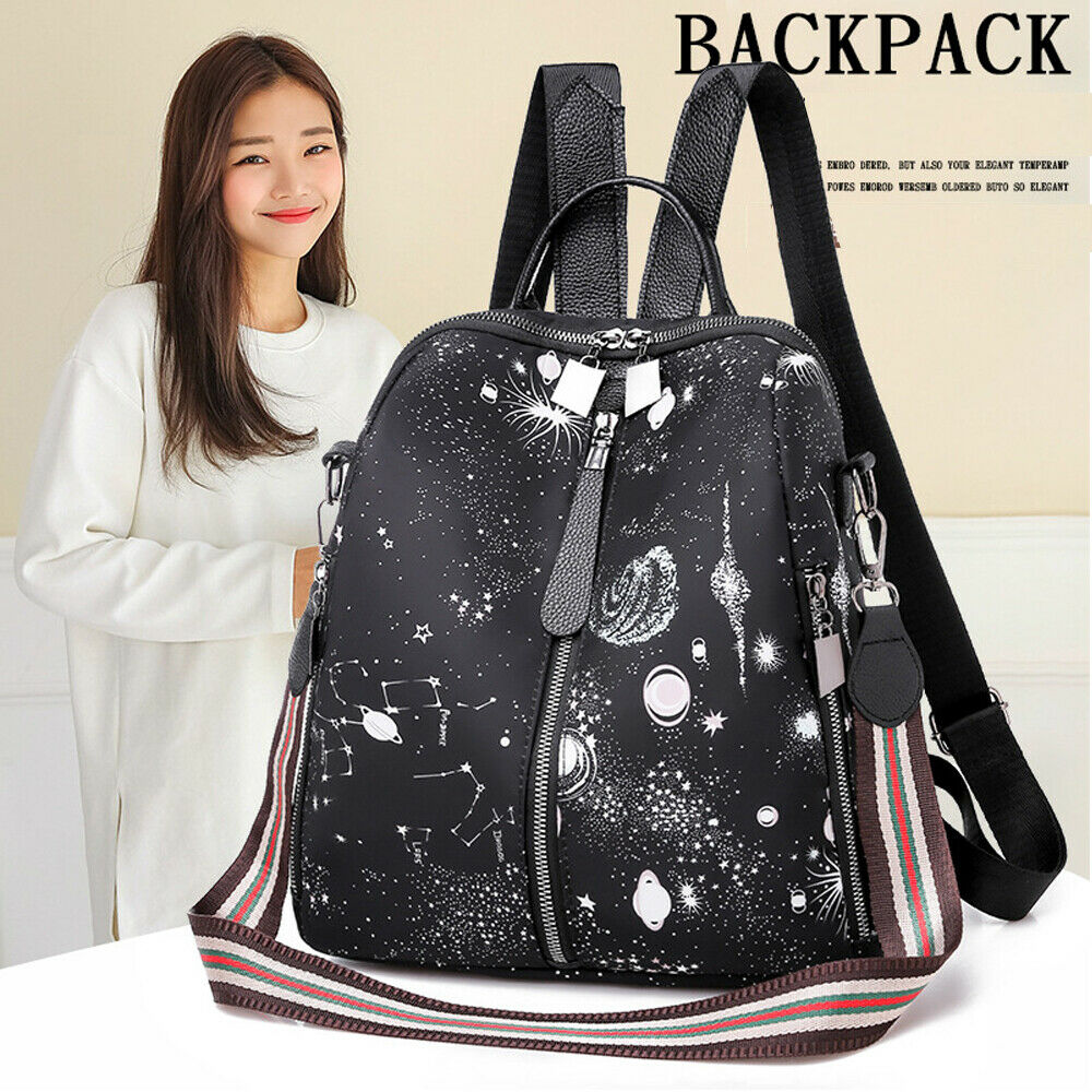 New Fashion Women's Backpack PU Leather Star Print Canta Backpack Shoulder Bag