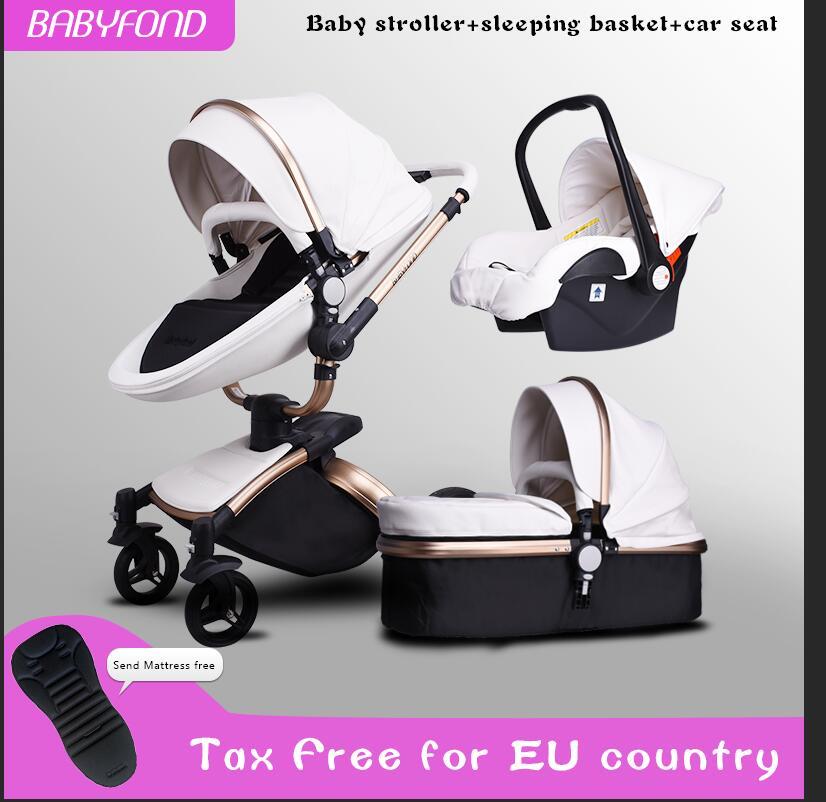 Babyfond AULON 3 dans 1 bébé poussette PU MATERAIL deux-way pousser absorbeurs bébé voiture panier chariot Europe bébé landau cadeau