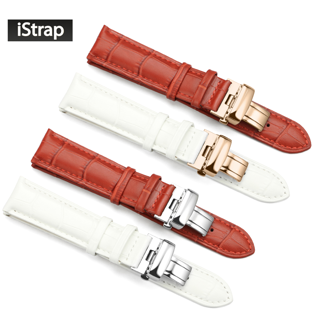 Prix pour IStrap 16mm 18mm 19mm 20mm Rouge Blanc Véritable Bracelet en cuir Remplacement De Bracelet De Montre Pour Femmes Montres (Six styles à choisir)