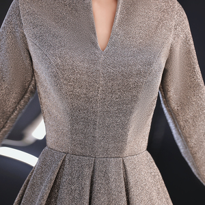Image 4 - wei yin 2020 Women Long Sleeve Evening Gowns Celebrity Dress Elegant Formal Long Dresses Satin A line Evening Dresses WY1509