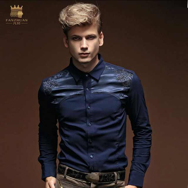 Free Shipping New fashion casual 2015 male men's Autumn personality embroidery flower slim long sleeved shirt 14282 FanZhuan