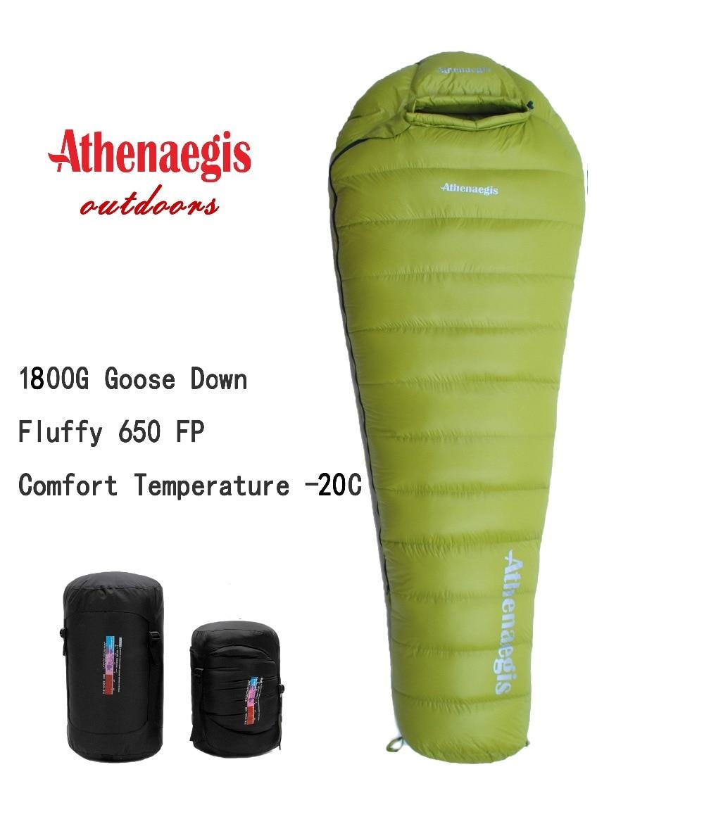 Athenaegis ultralight comfortable waterproof 1800g white goose down filling can be spliced winter sleeping bag цена