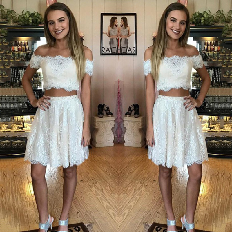 Sexy Boat Neck Short   Bridesmaid     dresses   2018 Two Pieces Lace Appliques   bridesmaid     dress   Robe demoiselle Prom   Dress   Party Gowns