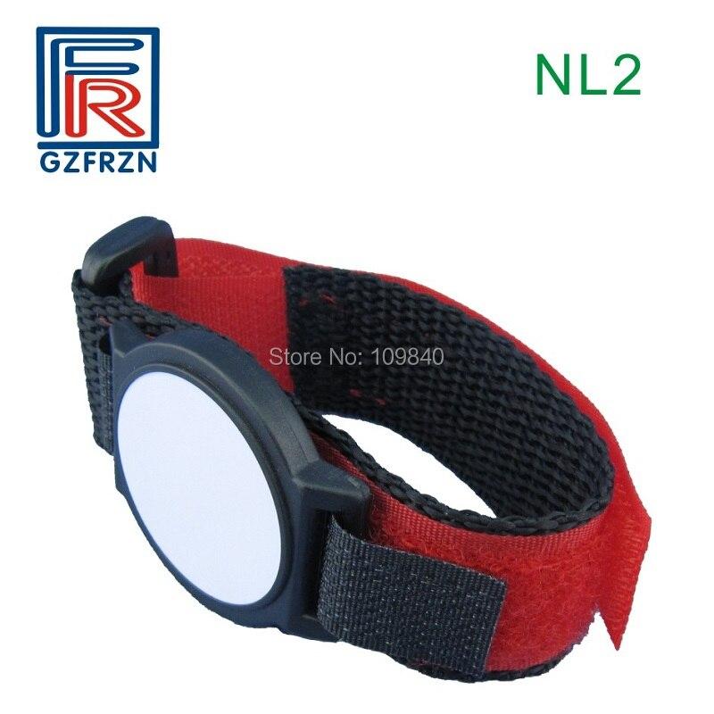 100pcs EM Nylon wristband 125khz RFID bracelet adjustable TK4100 chip for VIP e-ticket access control survival nylon bracelet brown