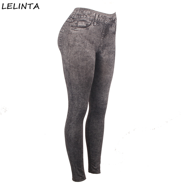 Sexy Black Elastic Stretch Imitation Jeans Women Body Building Fitness Leggings Pants Lady Slimming Control Jeggings Trousers
