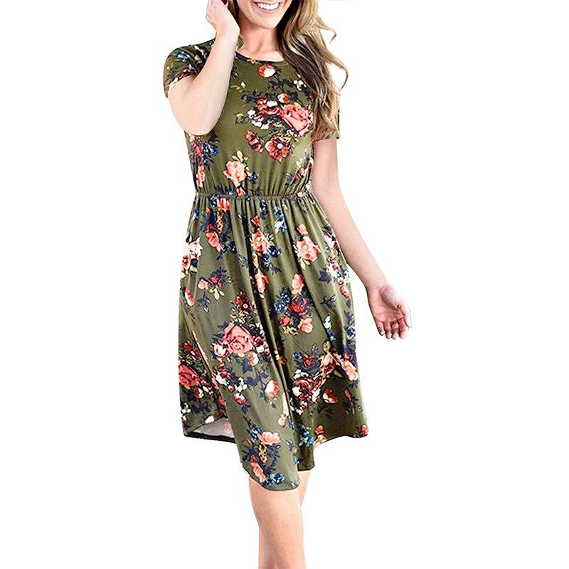 Стильное пляжное платье женское Винтажное с коротким рукавом с круглым вырезом с цветочным принтом миди платья повседневные рокабилли Рет...