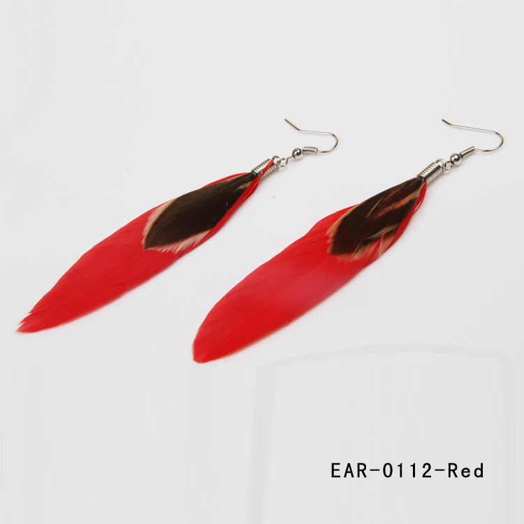 حار بيع 2017 الصيف نمط الأزياء العرقية الملونة ريشة أقراط 12 ألوان EAR-0112