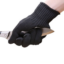 Black Safety Butcher gloves Stainless Steel Cut Proof Stab Resistant Metal Mesh self defense glove Working Hand protection